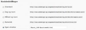 WordPress valg af permalink struktur